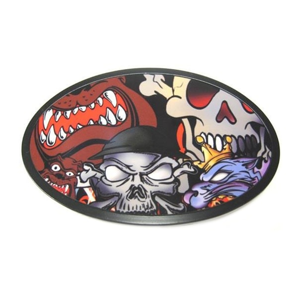 Cool Skulls & Bulldogs Graphic Black Enamel Belt Buckle