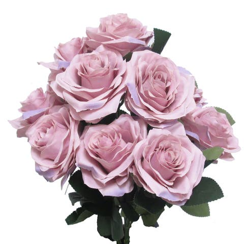 Set of 2 Queen Rose Flower Stems Bush Bouquet 17.75in