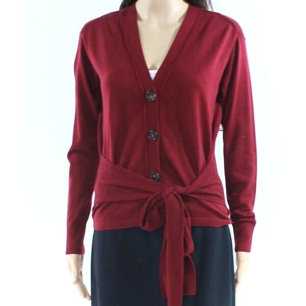 J. Crew Burgundy Womens Wool Tie Front Cardigan