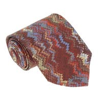 Missoni U1531 Red/Blue Flame Stitch 100% Silk Tie - 60-3