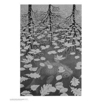 ''3 Worlds'' by M.C. Escher Optical Art Art Print (25.5 x 21.625 in.)