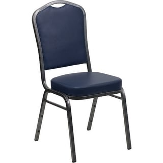 Offex Crown Back Stacking Banquet Chair with Navy Vinyl and 2.5'' Thick Seat - Silver Vein Frame