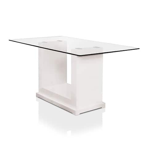 Furniture of America Jem Contemporary White 59-inch Wood Dining Table