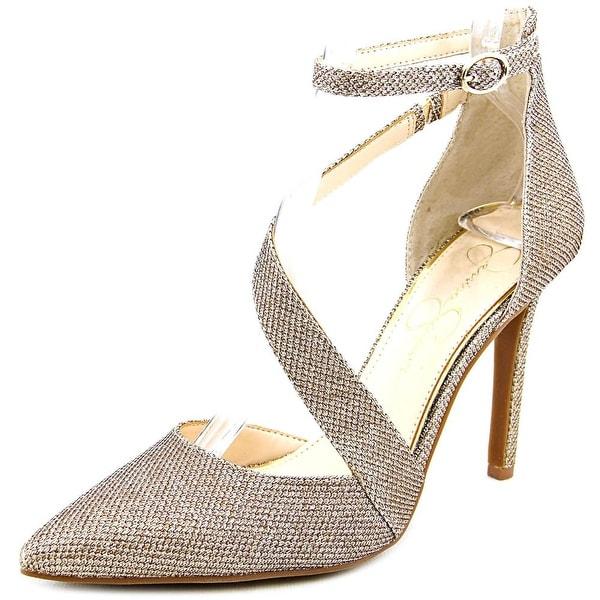c8976cffb0 Shop Jessica Simpson Castana Women Pointed Toe Canvas Gold Heels ...