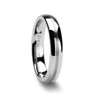 THORSTEN - BELLATOR Domed with Brushed Stripe Tungsten Wedding Ring - 4mm (Option: 3.5)