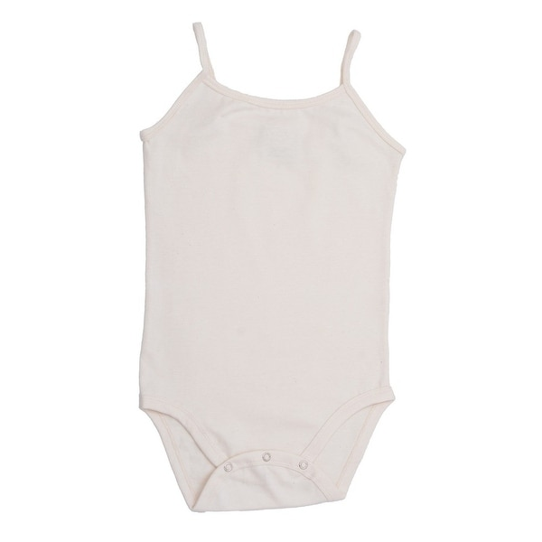Baby Girls White Spaghetti Strap Organic Cotton Knit Bodysuit 0-12M