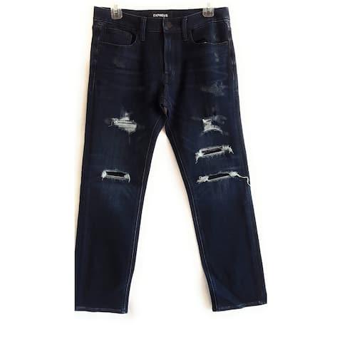 Express Slim Straight Destroyed Stretch Jeans, Dark Wash, W31 L30 - W31 L30