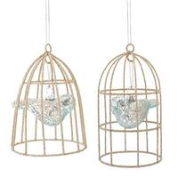 "Pack of 6 Sky Blue Mercury Glass Bird in Cage Christmas Ornaments 5""-5.5"""