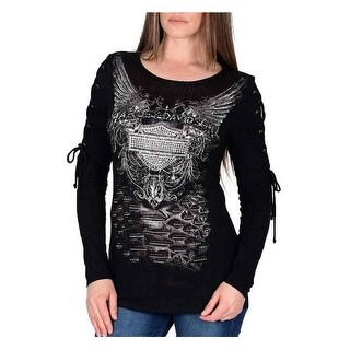 Harley-Davidson Women's Esoteric Truth Embellished Lace-Up Long Sleeve Top