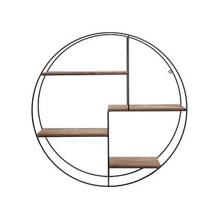 Link to Foreside Home & Garden 31.5 inch Diameter Round Modern Metal and Wood Four Tier Hanging Wall Shelf Similar Items in Accent Pieces