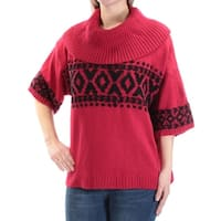 STYLE & COMPANY Womens Red Tribal Short Sleeve Cowl Neck Sweater  Size: M