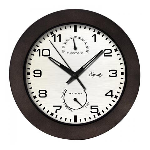 Equity 29005 Indoor & Outdoor Wall Clock With Temperature And Humidity