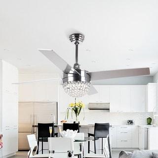 Modern 4-Blades 48-inch Crystal Ceiling Fan with Remote