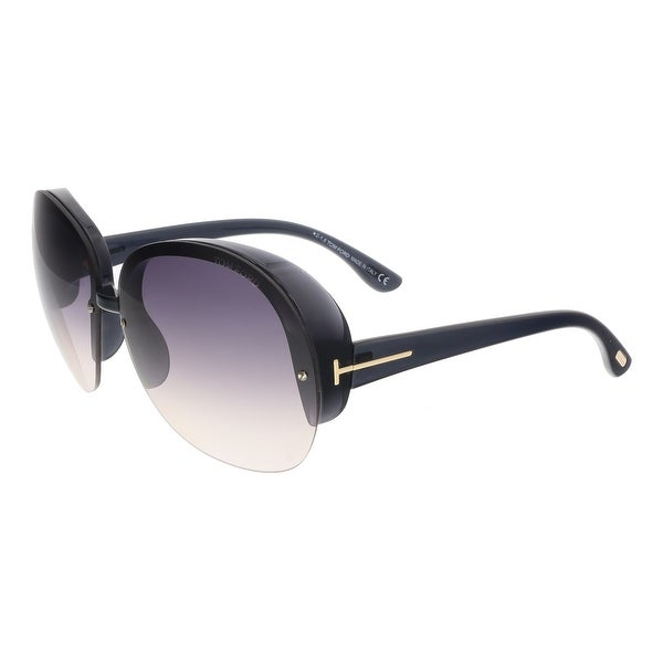 Tom Ford FT0458 20B MARINE Black Round Sunglasses - 68-12-135