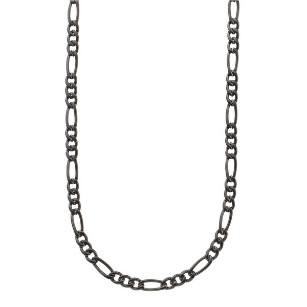 Men's Figaro Chain Necklace in Stainless Steel - Black