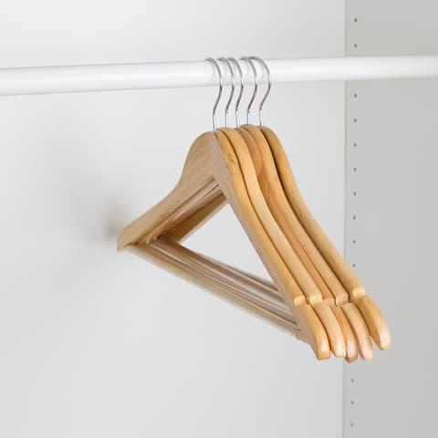 Non-Slip Wood Hanger, (Pack of 5), Natural