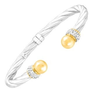 Crystaluxe Twist Cuff with Swarovski Crystals in Sterling Silver & 14K Gold - White