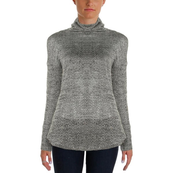 Two by Vince Camuto Womens Turtleneck Sweater Metallic Hi-Low