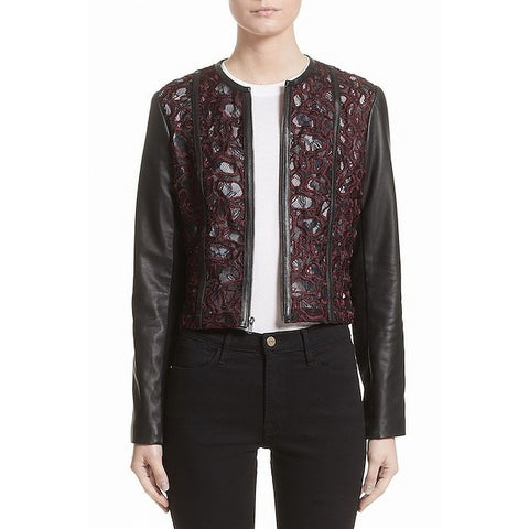 Yigal Azrouel Black Women's Size 2 Embroidered Jacket Leather