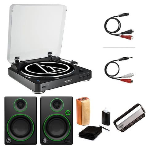 Audio-Technica AT-LP60 Turntable with 2 CR3 Monitors and Cleaning Kit