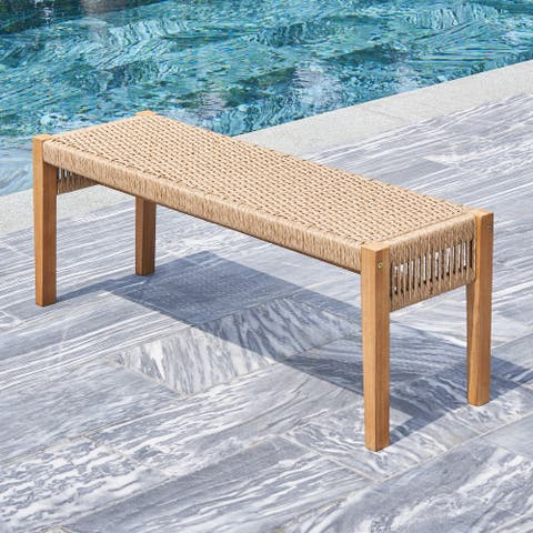 Chesapeake Honey 2-Seater Patio Wood Mixed Rattan Garden Bench