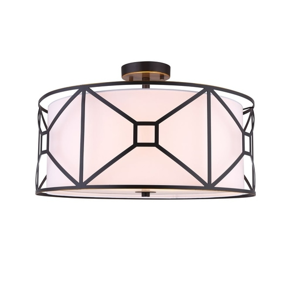 """Woodbridge Lighting 17135-S120A1 Regan 3-Light 20"""" Wide Drum Style Semi-Flush Ceiling Fixture with Fabric Shade and Metal Cage"""