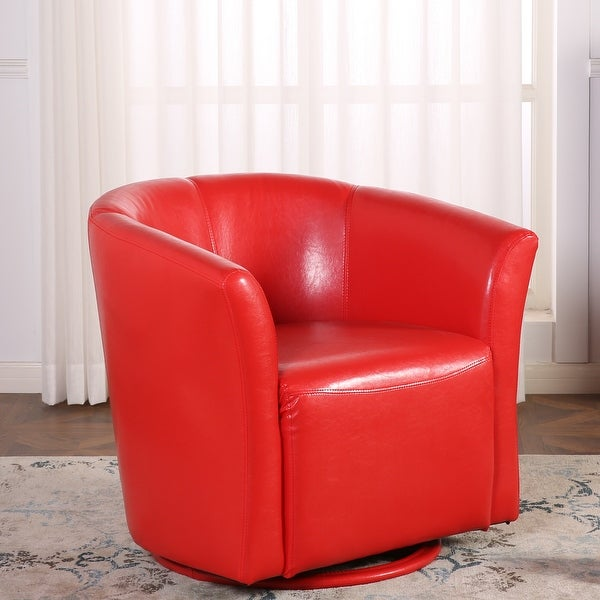 Belleze Round Swivel Base Modern Style Barrel Cushion Padded Tub Chair  Comfort Style With Armrest,