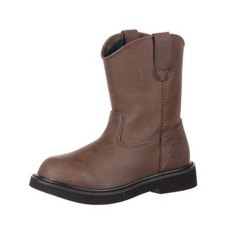 "Georgia Boot Work Boys 7"" Pull On Lightweight Manmade Upper Brown"