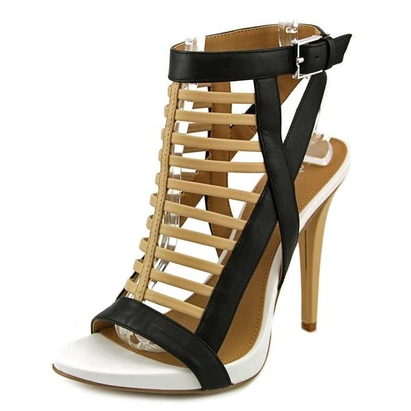 Calvin Klein Nalo Women Open Toe Leather Tan Platform Sandal