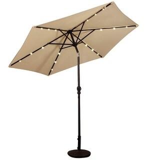 9FT Patio Solar Umbrella LED Patio Market Steel Tilt W Crank Outdoor New Beige