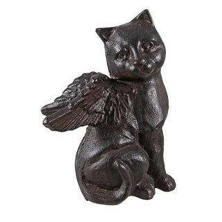 Cast Iron Angel Cat Statue Figure - 6 X 4.75 X 3 inches