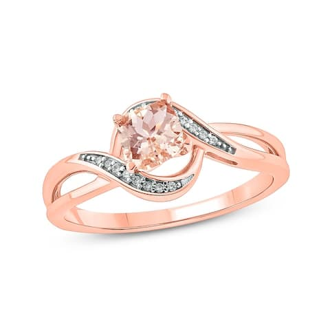 Cali Trove 10KT Pink Gold with diamond accent & Morganite fashion ring.
