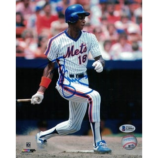 Darryl Strawberry Autographed New York Mets 8x10 Photo Swinging BAS