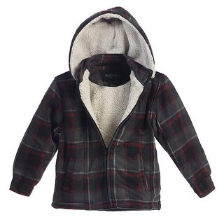 Boys Red Plaid Sherpa Lined Detachable Hood Flannel Jacket 8-16 (Option: 14)