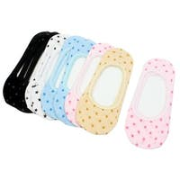 10 Pairs Colorful Star Print Flower Brim Stretch Boat Socks for Women