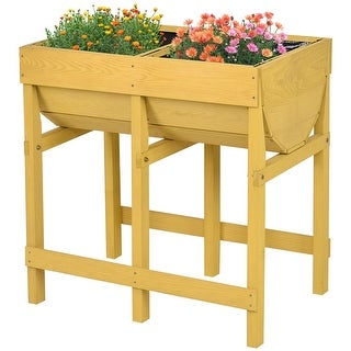 Costway Raised Wooden V Planter Elevated Vegetable Flower Bed Free Standing Planting with liner