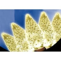 Faceted Warm White LED C6 Christmas Lights, Brown Wire, Set