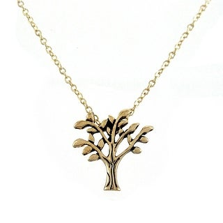 Goldtone Tree of Life Pendant w/ 16 Inch Necklace - GOLD