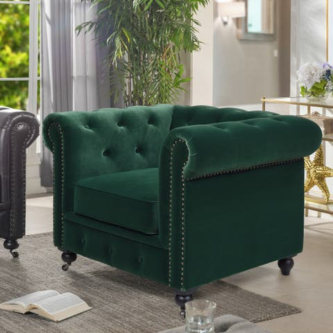 Copper Grove Munich Tufted Scroll Arms Chesterfield Armchair