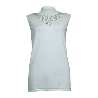 Cable & Gauge Women's Beaded Mock Sleeveless Knit Top