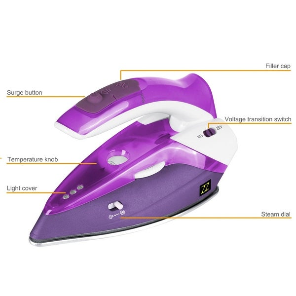ZZ TI962-P Dual Voltage Travel Steam Iron with Stainless Steel Soleplate 1000 Watt, Purple
