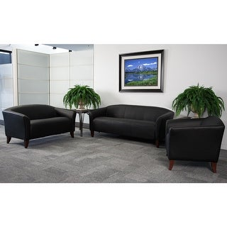 Radisson 3pcs Office Leather Sofa Sets, Black, Wood Ft