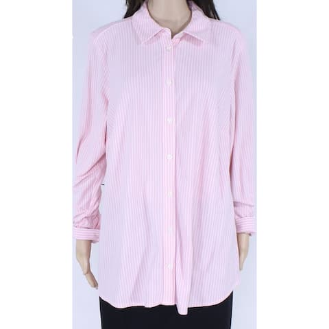 Charter Club Womens Top White Pink Size 3X Plus Button Down Stripe