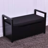 Costway Shoe Bench Storage Rack Cushion Seat Ottoman Bedroom Hallway Entryway Black
