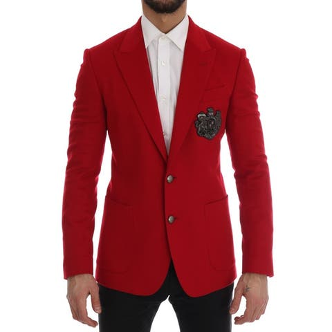 Dolce & Gabbana Red Cashmere Slim Fit Men's Blazer