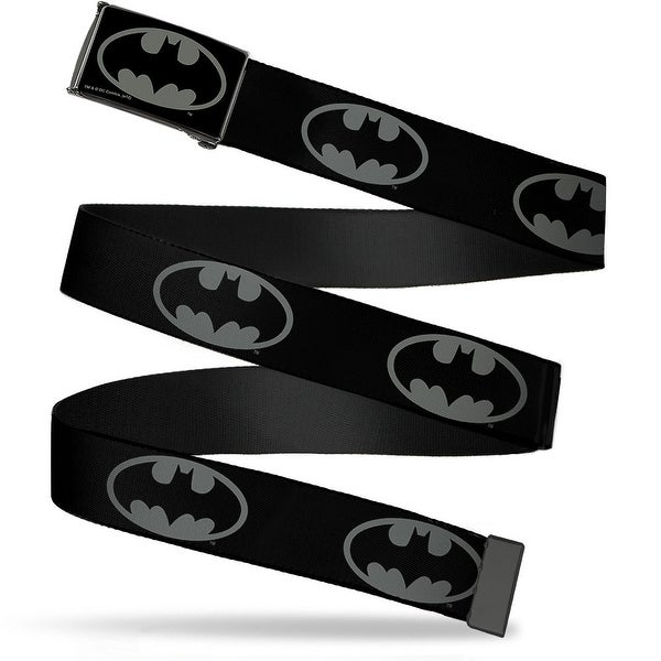Batman Reverse Brushed Black Silver Black Frame Batman Shield Black Web Belt