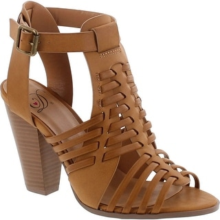 Delcious Women's Aliya Strappy Gladiator Open Toe Stacked Heel Sandal - lt tan