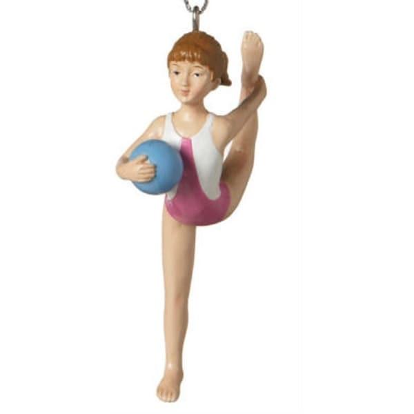 """4"""" Aspiring Gymnast with Ball Resin Christmas Ornament - PInk"""