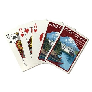 Puget Sound, Washington- Ferry & Mount Rainier Scene - Lantern Press Artwork (Poker Playing Cards Deck)