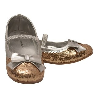 L'Amour Little Girls Gold Glitter Patent Bow Scalloped Dress Shoes 5-10 Toddler